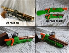 I did one of these a while ago - a pistol based off of a Buzzbee hunter bolt-action blaster. I am going to try doing a different shape for the handle. Modified Nerf Guns, Nerf Toys, Steampunk Weapons, Lego Craft, Cosplay Weapons, Nerf War, Armor Concept, Cool Guns, Airsoft Guns