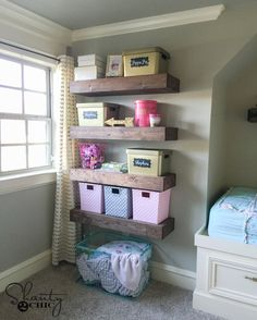 Hey guys!   I built my youngest little lady some floating shelves for all of her junk important things, and I am sharing the plans for them today.  I recently found that my Home Depot started carrying 1×5 pine boards.  I decided to build these shelves using those, and the entire construction of these is done…