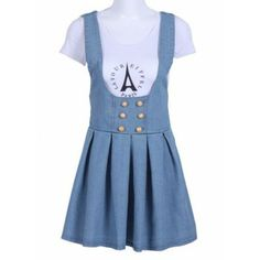 Blue Spaghetti Strap Buttons Pleated Denim Dress