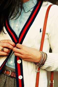 Red, Navy, Sweater, Chambray, Cardigan