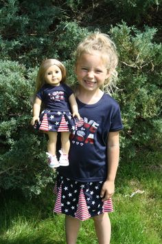961f2193a33e LOVE USA Skirt and Shirt Patriotic Set For Girl and American Girl or Bitty Baby  Doll