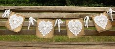 Shabby RUSTIC Chic Burlap Banner Bunting by BetterhomeLiving