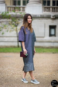 Oversized shirt dress and slip on sneaks. Paris #MeruyertIbragim