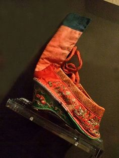 Lotus shoes for Bound Feet Qing Dynasty China 19th century CE embroidered satin