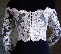 Couture OffShoulder Italian Lace 3/4 Sleeves Bolero by IheartBride, $400.00