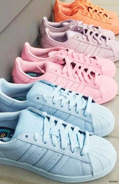 Pastel Adidas Superstar Sneakers Más Clothing, Shoes & Jewelry : Women : Shoes : Fashion Sneakers : shoes http://amzn.to/2kB4kZa