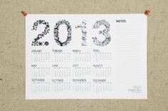 Printable calendar 2013 black typographic illustration by papierdier on Etsy, $5.00