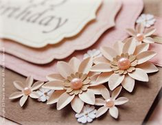 $Fleurs de Papier ~クラフトパンチや花紙で作る立体のお花いろいろ~-クラフトパンチでバースデイカード