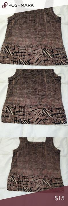 Black, brown and cream print tank top Black, brown and cream print tank top. Size Small. Adorable with jeans or leggings and black or brown boots. Raphael Tops Tank Tops