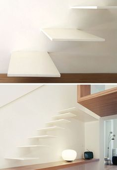18 Examples Of Stair Details To Inspire You // These minimalist white floating stairs include a wooden step, which extends to become a desk.
