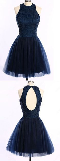 Short/Mini Homecoming Dresses,Scoop Neck Prom Dresses,Dark Navy Homecoming Dress,Tulle Prom Dress,Pearl Detailing Prom Dress,Open Back Prom Dresses