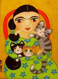 FRIDA Kahlo & 3 CATS Folk Art PRINT from Original by thatsmycat, $8.00
