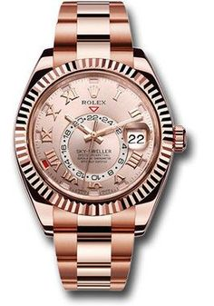 42mm 18K Everose gold case, bidirectional rotatable ring command bezel, sundust sunray dial, automatic Rolex caliber 9001 movement, second time-zone displayed via off-center rotating disc, Saros annua