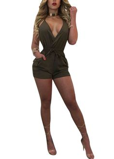 Army Green Plunging V Neck Open Back Romper With Pockets_Jumpsuit & Rompers_Women Clothes_Sexy Lingeire | Cheap Plus Size Lingerie At Wholesale Price | Feelovely.com