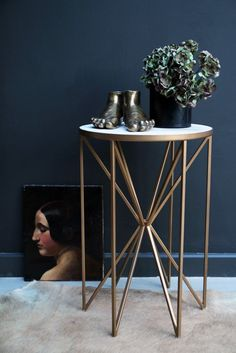 Butterfly Side Table - Brass & White Marble - View All - Furniture