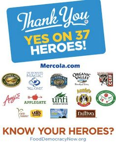 Food Democracy Now | Thank your Heroes of Yes on 37 to Label GMOs! Food Democracy Now | Thank your Heroes of Yes on 37 to Label GMOs! CALIFORNIA: It's all up to you! Don't forget to VOTE YES on Prop 37 tomorrow! We can have the labeling we need and deserve, it all starts with having a voice. This is our chance.