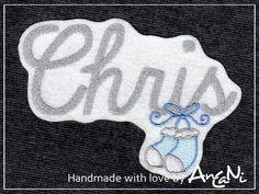 Aufnäher Wunschname Babyschuhe i. v. Farben ♥ Name von AnCaNi auf DaWanda.com
