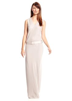 On ideel: HALSTON HERITAGE V-Neck Gown with Waist Detail