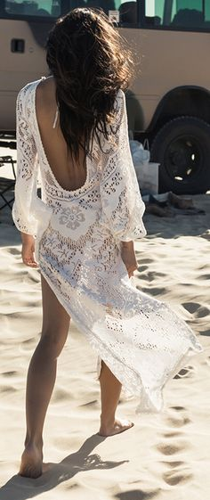 Boho chic crochet maxi dress with modern hippie fringe for a carefree gypsy spirit style. FOLLOW http://www.pinterest.com/happygolicky/the-best-boho-chic-fashion-bohemian-jewelry-gypsy-/ for the BEST Bohemian fashion trends in clothing & jewelry.