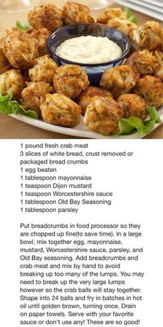 Frugal Food Items - How To Prepare Dinner And Luxuriate In Delightful Meals Without Having Shelling Out A Fortune Crispy Crab Nuggets Crab Cake Recipes, Seafood Recipes, Cooking Recipes, Crawfish Recipes, Keto Recipes, Yummy Appetizers, Appetizer Recipes, Crab Appetizer, Tapas