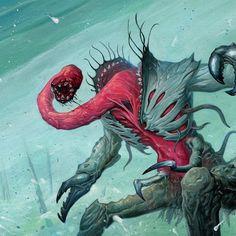 One of Nyarlathotep's many forms, the Bloody Tongue. Art: @jacobwalkerart