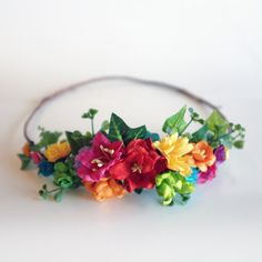 DIY Rainbow Flower Crown Kit Make your own by OhDinaFlowerCrowns