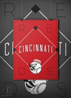9eadffd0c2ffc Cincinnati Reds Retro Inspired Baseball by DimestoreSaintDesign Baseball  Posters