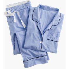 J.Crew Vintage Short-Sleeve Pajama Set (1,755 MXN) ❤ liked on Polyvore featuring intimates, sleepwear, pajamas, holiday pjs, cotton pjs, j crew pyjamas, cotton pajamas and cotton pyjamas