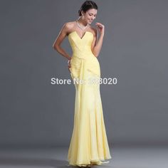 Yellow Chiffon Mermaid Evening Dress Long Fitted Formal Party Gown vestido de festa amarelo