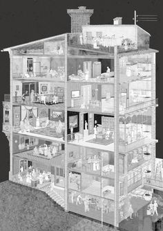 house illustration Building Illustration, House Illustration, Architecture Drawings, Architecture Design, Building Section, Pretty Drawings, Architectural Section, Collage Making, House Drawing
