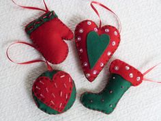 Handmade Christmas Felt Ornaments set of FOUR by funnydots on Etsy, Handmade Felt, Handmade Christmas, Felt Ornaments, Christmas Ornaments, Happy Art, Xmas, Unique Jewelry, Holiday Decor, Etsy