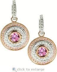 Cleopatra Pink 1 Carat Round Rose Gold Double Halo Drop Earrings by Ziamond. Pink Earrings, Round Earrings, Drop Earrings, Gold Platinum, 18k Gold, Thing 1, Diamond Simulant, Cubic Zirconia Earrings, Lab Created Diamonds