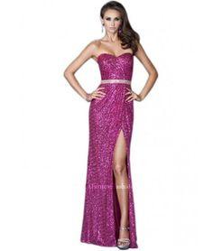 Elegant strapless fuchia sequin prom dress 2015 by La Femme