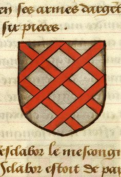 Escutcheon decorated with heraldry of Patrides le Hardi (argent fretty gules) | Noms, armes et blasons des chevaliers de la Table Ronde | France | ca. 1500 | The Morgan Library & Museum