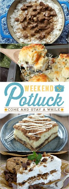 Featured recipes from weekend potluck include: Stewed Beef Tips and Rice, Coffee Cake, Chicken Alfredo Bubble Up and Chocolate Chip Icebox Cake!