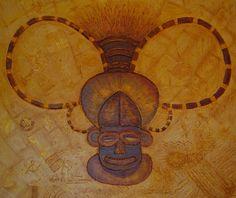 """ Mask Quiooca III "" - Angola Pintura em acrílico sobre tela canvas 70 x50 Autor: Guma 1994  Ref: 180"