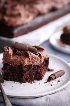 Chocolate sheet cake with whipped ganache