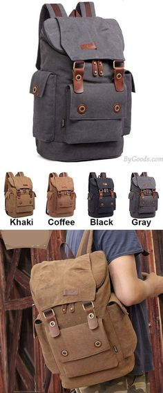 Which color do you like? Retro Men's Canvas Large Capacity Outdoor Travel Rucksack Splicing Leather Belts School Laptop Backpack #laptop #backpack #school #college #bag #belts #Leather