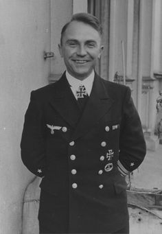 KL Gunther Prien was the first U-boat commander to win the Knight's Cross of the Iron Cross  and the first member of the Kriegsmarine to receive the Knight's Cross of the Iron Cross with Oak Leaves. Under Prien's command, the submarine U-47 sank over 30 Allied ships totaling about 200,000 tons. U-47 went missing with all hands on March 7, 1941. Prien's death was not announced in Germany until May 23 and only after Churchill personally announced it in parliament.