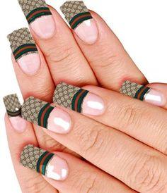 - Gucci Nails - Ideas of Gucci Nails - White Acrylic Nails, Best Acrylic Nails, Gold Nails, Diamond Nails, Long Nail Designs, Black Nail Designs, Nail Art Designs, Nails Design, Gel Manicure Nails