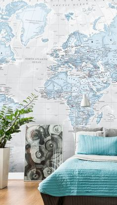 Stunning World Political Aqua wall mural from Wallsauce. This high-quality World Political Aqua wallpaper is custom made.This image is © Lovell Johns. ith your choice, is this vast collection of wall murals for bedrooms. Choose from premium or classic paste the wall or textured peel and stick wallpaper. Click for more inspiration! #wallpaper #homedecor #homedecortips #accentwall #wallsauce #bedroomdecor Aqua Wallpaper, Blue Wallpapers, Peel And Stick Wallpaper, Photo Wallpaper, Wall Murals Bedroom, Accent Wall Bedroom, Bedroom Decor, Aqua Walls, Designer Wallpaper