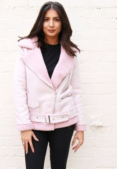 Oversized Faux Suede Aviator Jacket with Shearling Collar & Lining in Light Pink
