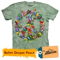 Butterflies Forming a Peace Sign T-shirt Tie Dye Adult Tee - Wildlife Shirts Animal T-Shirts Tee Butterfly Dragon, Green Butterfly, Butterfly Tattoos, Tie Dye T Shirts, Tee Shirts, Boho, Bohemian Gypsy, Graphic Tees, Classic T Shirts