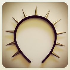 Spike headband with gold spikes on black satin by McIntoshJewelry