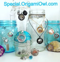 Origami Owl, Living Lockets with Ball Mason Jars ..... I love this jewelry display!