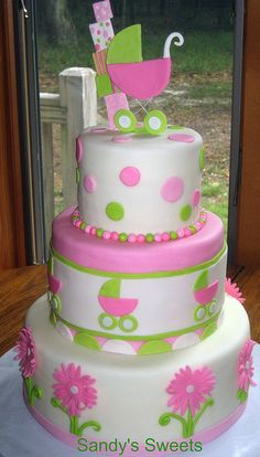 Pink and Green Baby Shower Cake by Sandy's Sweets, via Flickr