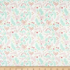 Designed by Sarah Jane for Michael Miller, this lovely minky fabric features a cozy low nap pile and is printed. It is perfect for apparel, blankets, throws, accents and stuffed animals. Colors include white, mint, gold and shades of pink.