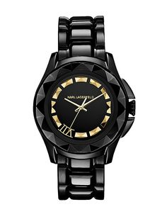 glossy black stainless steel watch by Karl Lagerfeld, $335 | Hudson's Bay