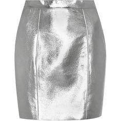 Saint Laurent Metallic Leather Skirt (133.650 RUB) ❤ liked on Polyvore featuring skirts, bottoms, metallic, knee length leather skirt, white knee length skirt, white leather skirt, leather skirt and metallic skirts