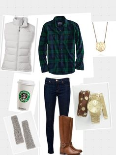 Perfect for a chilly fall day. Love the green flannel shirt and vest.